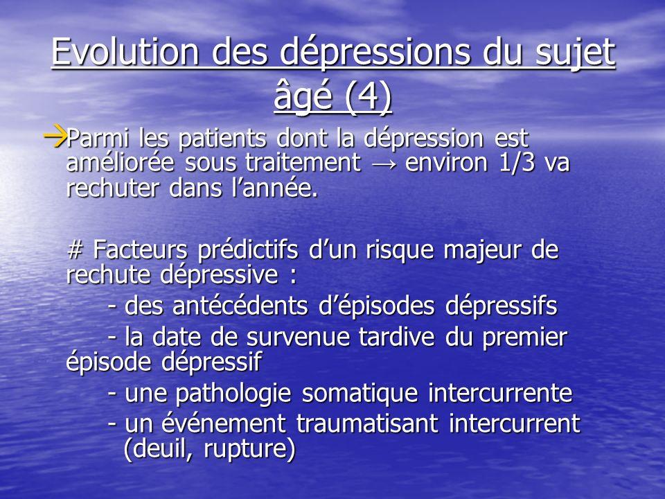 Evolution des dépressions du sujet âgé (4) Parmi les patients dont la dépression est améliorée sous traitement environ 1/3 va rechuter dans lannée. Pa