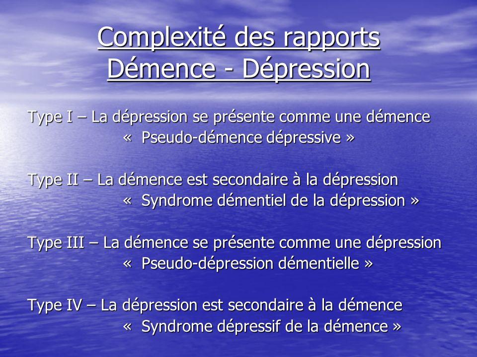 Complexité des rapports Démence - Dépression Type I – La dépression se présente comme une démence « Pseudo-démence dépressive » Type II – La démence e