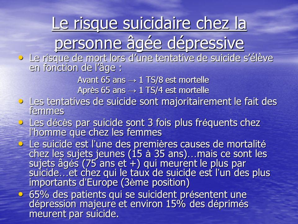 Le risque suicidaire chez la personne âgée dépressive Le risque de mort lors dune tentative de suicide sélève en fonction de lâge : Le risque de mort