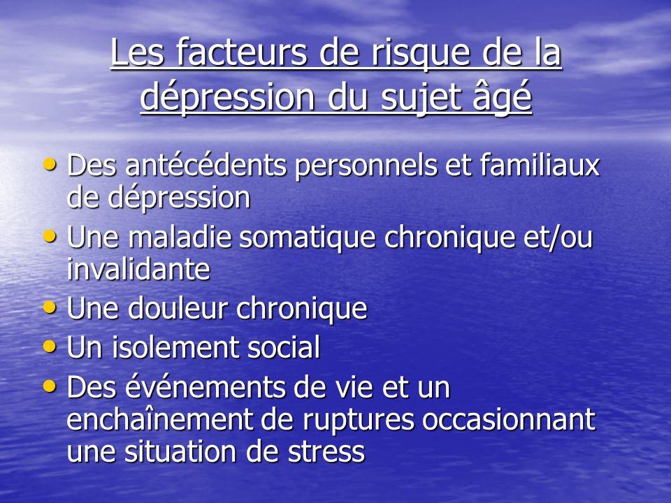 Les facteurs de risque de la dépression du sujet âgé Des antécédents personnels et familiaux de dépression Des antécédents personnels et familiaux de