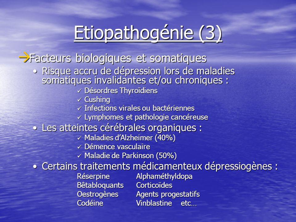 Etiopathogénie (3) Facteurs biologiques et somatiques Facteurs biologiques et somatiques Risque accru de dépression lors de maladies somatiques invali