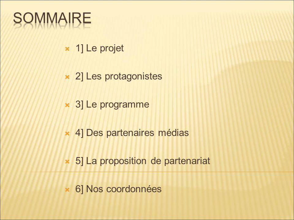 1] Le projet 2] Les protagonistes 3] Le programme 4] Des partenaires médias 5] La proposition de partenariat 6] Nos coordonnées