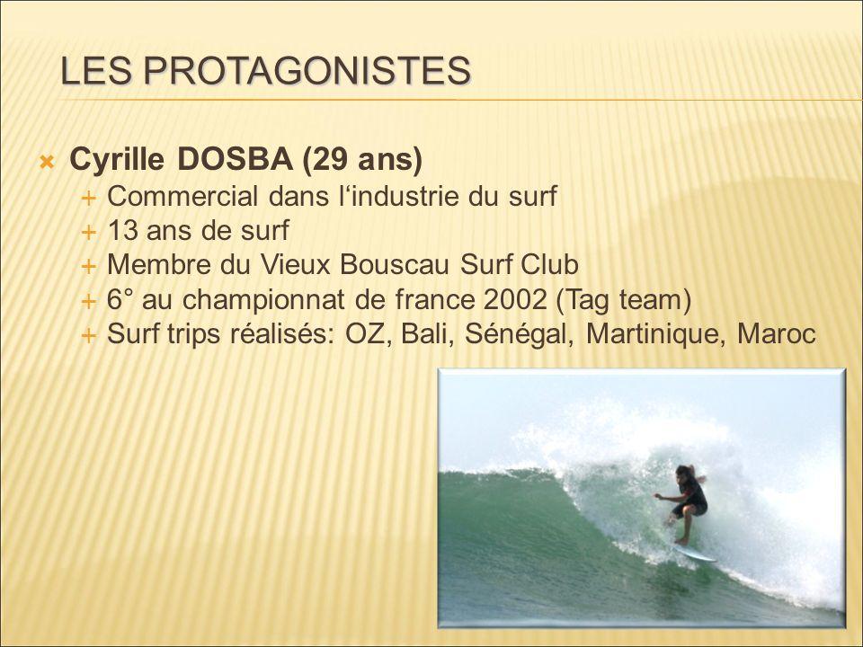 Cyrille DOSBA (29 ans) Commercial dans lindustrie du surf 13 ans de surf Membre du Vieux Bouscau Surf Club 6° au championnat de france 2002 (Tag team)