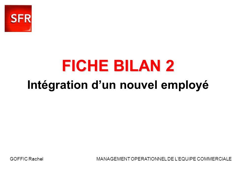FICHE BILAN 2 FICHE BILAN 2 Intégration dun nouvel employé GOFFIC Rachel MANAGEMENT OPERATIONNEL DE LEQUIPE COMMERCIALE