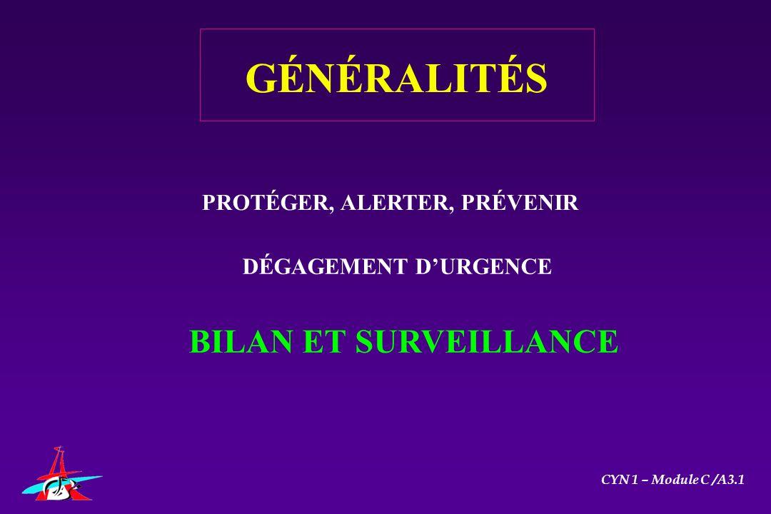 GÉNÉRALITÉS PROTÉGER, ALERTER, PRÉVENIR DÉGAGEMENT DURGENCE BILAN ET SURVEILLANCE CYN 1 – Module C /A3.1