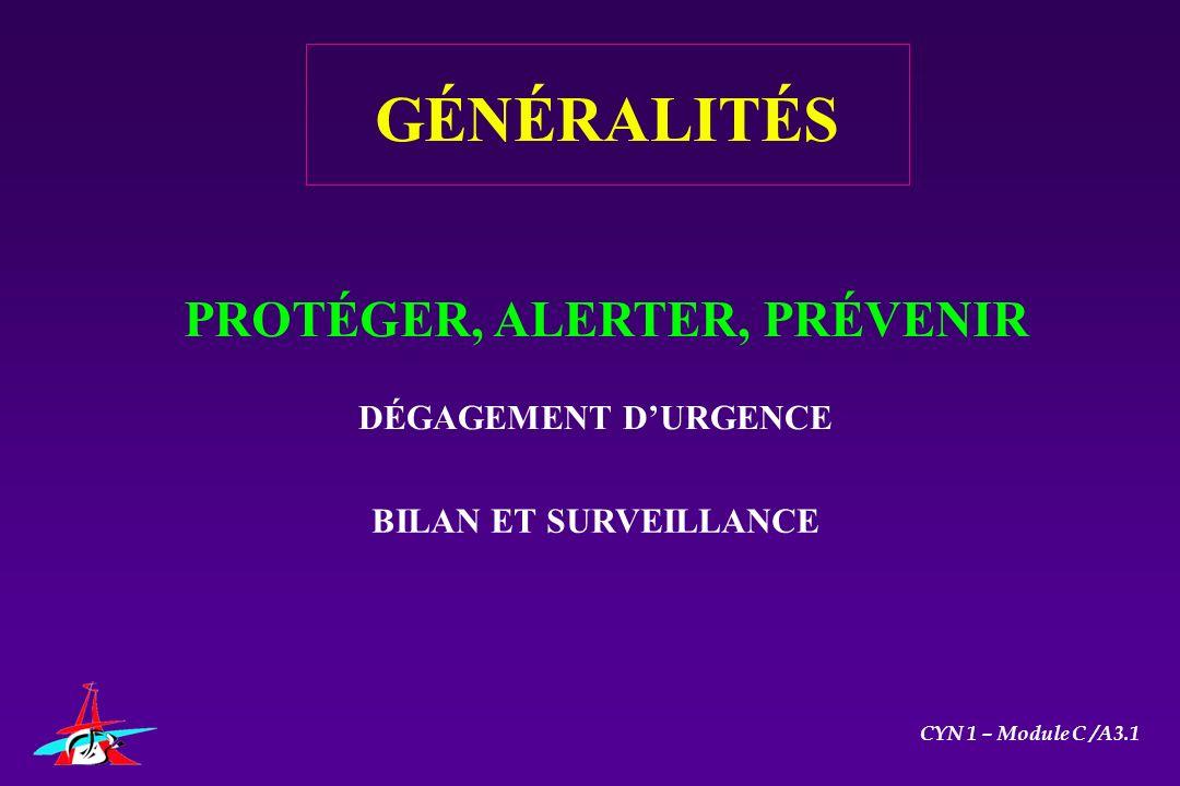PROTÉGER, ALERTER, PRÉVENIR DÉGAGEMENT DURGENCE BILAN ET SURVEILLANCE GÉNÉRALITÉS CYN 1 – Module C /A3.1