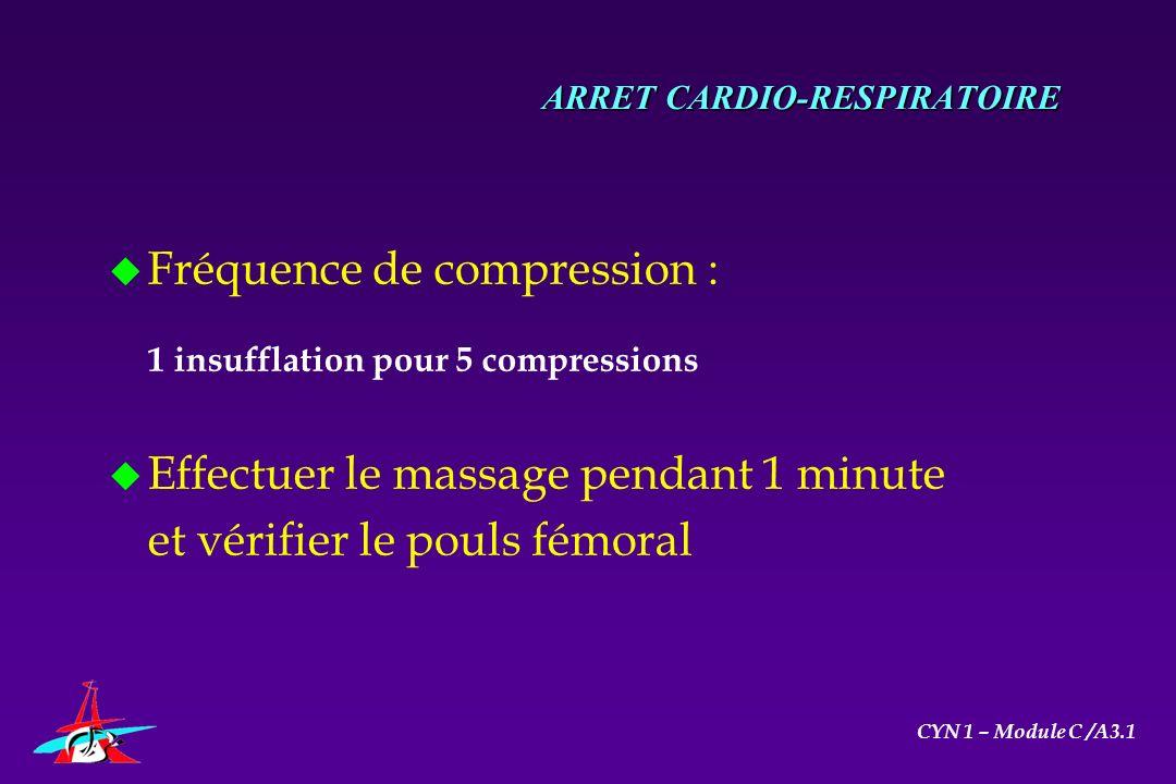 ARRET CARDIO-RESPIRATOIRE u Fréquence de compression : 1 insufflation pour 5 compressions u Effectuer le massage pendant 1 minute et vérifier le pouls