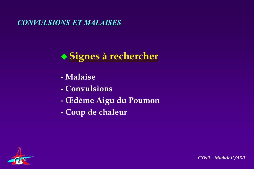 u Signes à rechercher - Malaise - Convulsions - Œdème Aigu du Poumon - Coup de chaleur CONVULSIONS ET MALAISES CYN 1 – Module C /A3.1