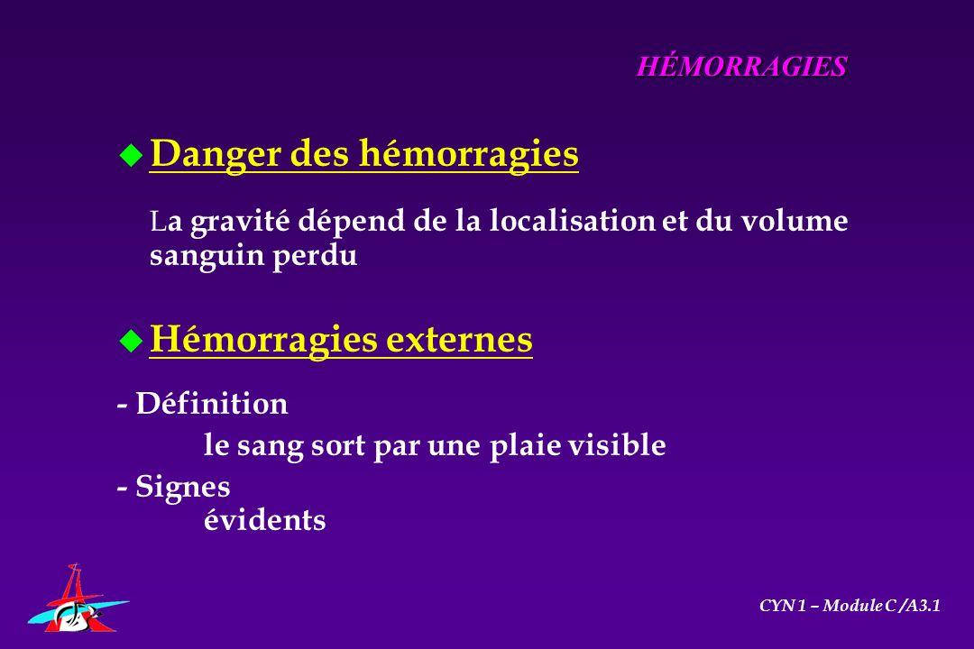 u Danger des hémorragies L a gravité dépend de la localisation et du volume sanguin perdu u Hémorragies externes - Définition le sang sort par une pla