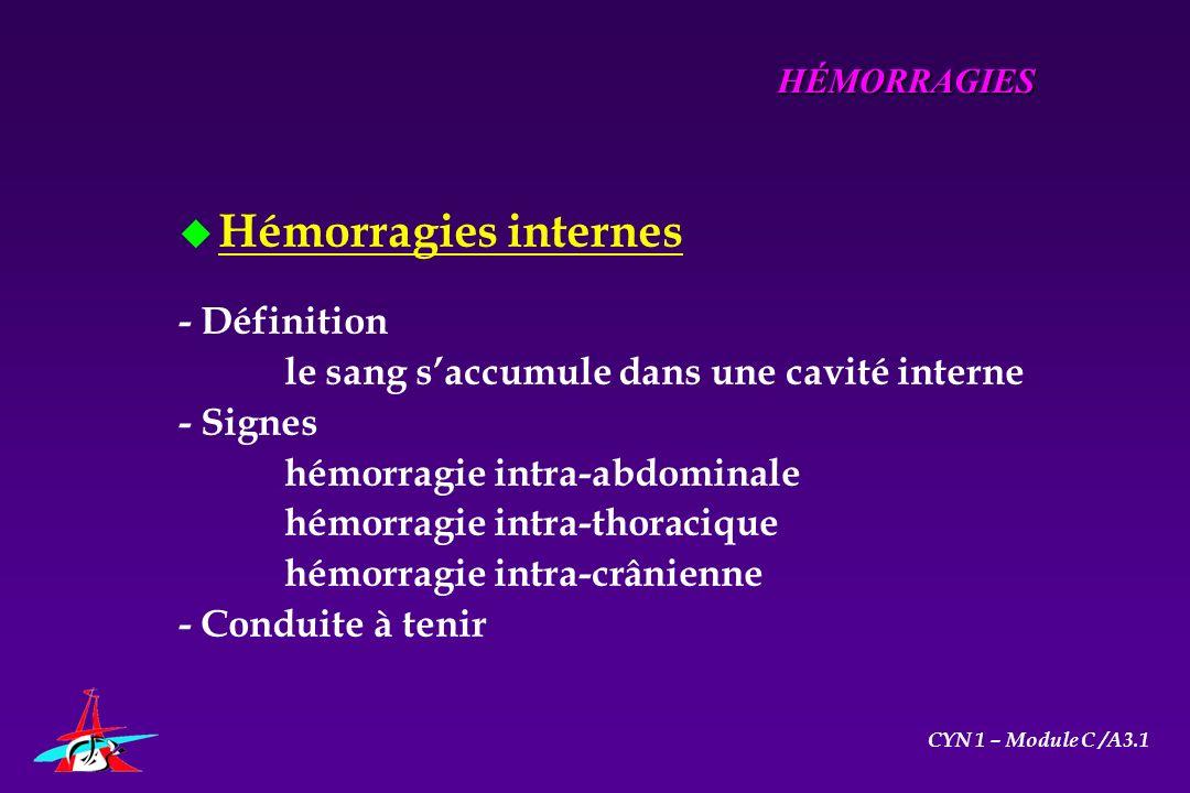 u Hémorragies internes - Définition le sang saccumule dans une cavité interne - Signes hémorragie intra-abdominale hémorragie intra-thoracique hémorra
