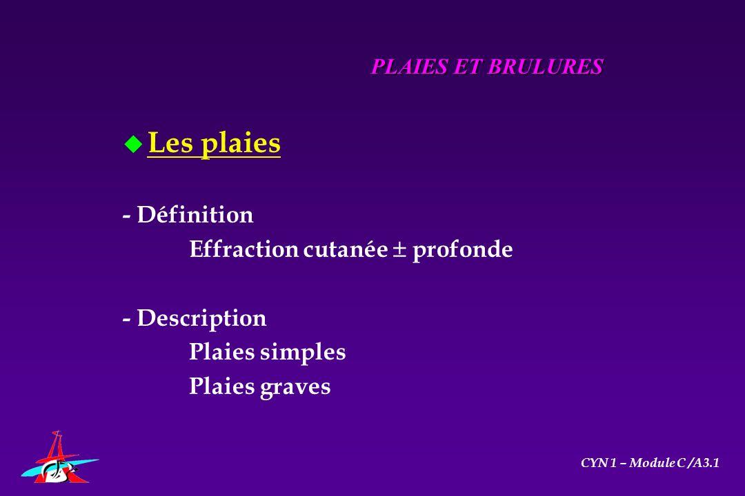 u Les plaies - Définition Effraction cutanée profonde - Description Plaies simples Plaies graves PLAIES ET BRULURES CYN 1 – Module C /A3.1