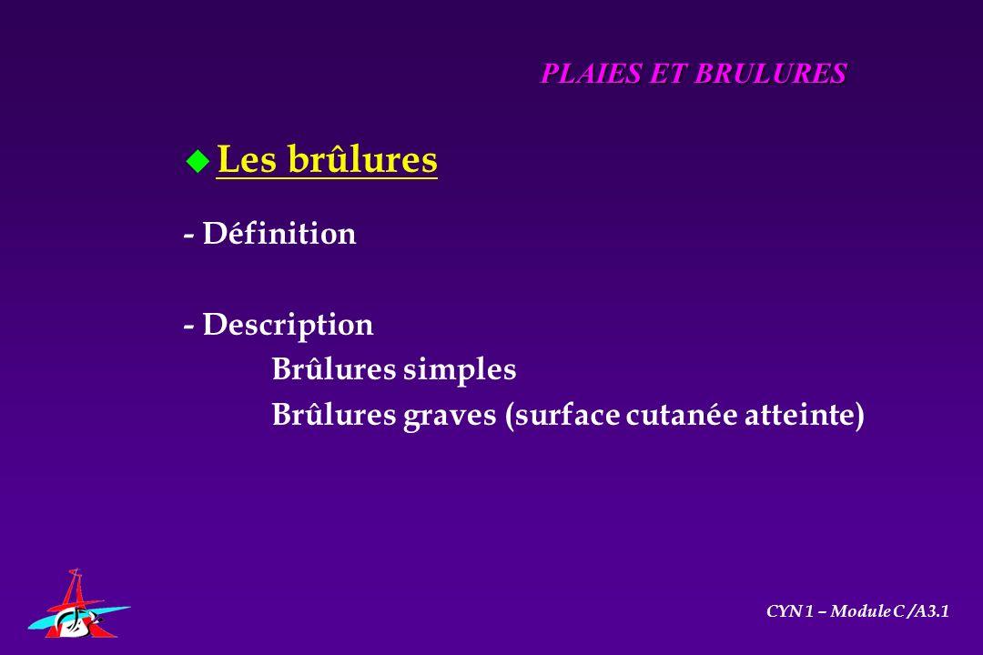 u Les brûlures - Définition - Description Brûlures simples Brûlures graves (surface cutanée atteinte) PLAIES ET BRULURES CYN 1 – Module C /A3.1