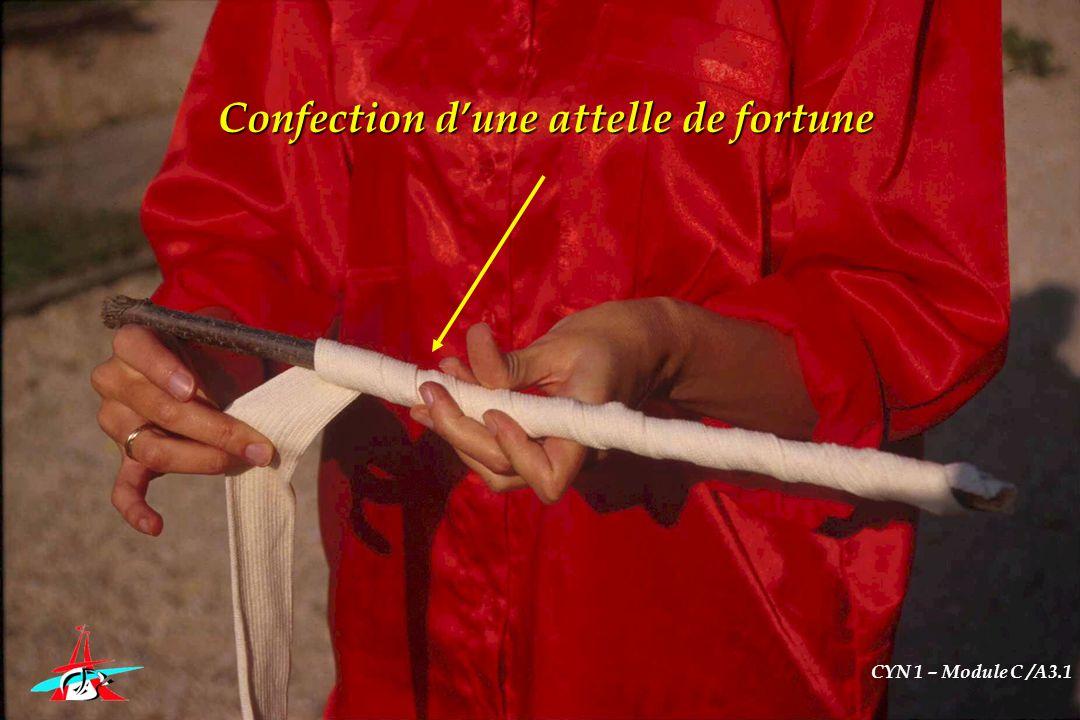 Confection dune attelle de fortune CYN 1 – Module C /A3.1