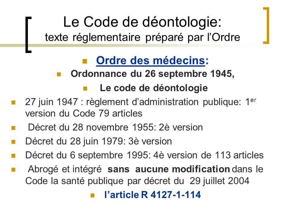 Le Code de déontologie: texte réglementaire préparé par lOrdre Ordre des médecins: Ordonnance du 26 septembre 1945, Le code de déontologie 27 juin 194