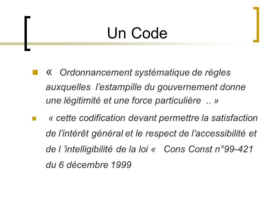 Un Code « Ordonnancement systématique de règles auxquelles lestampille du gouvernement donne une légitimité et une force particulière.. » « cette codi