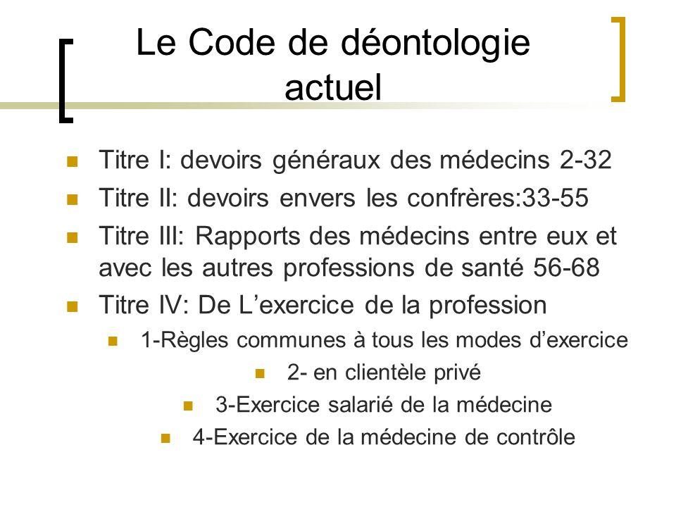 Le Code de déontologie actuel Titre I: devoirs généraux des médecins 2-32 Titre II: devoirs envers les confrères:33-55 Titre III: Rapports des médecin