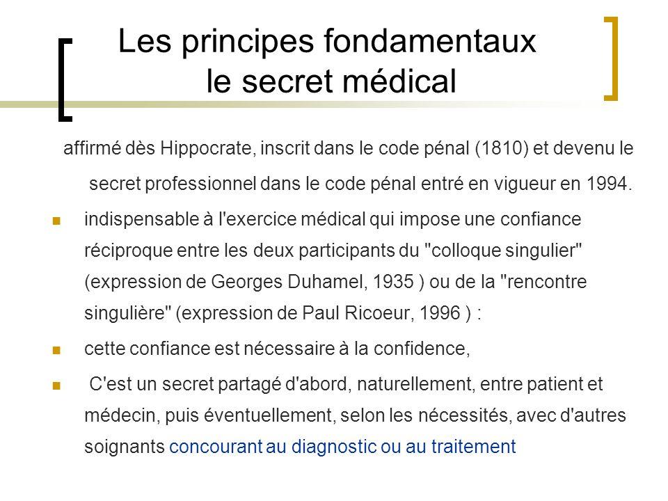 Les principes fondamentaux le secret médical affirmé dès Hippocrate, inscrit dans le code pénal (1810) et devenu le secret professionnel dans le code