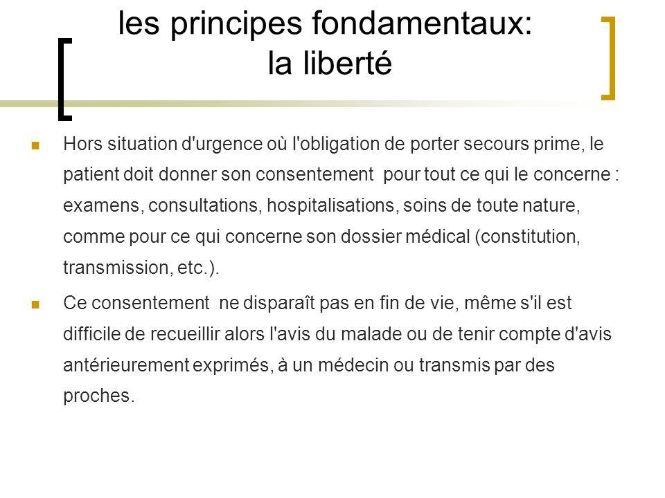 les principes fondamentaux: la liberté Hors situation d'urgence où l'obligation de porter secours prime, le patient doit donner son consentement pour