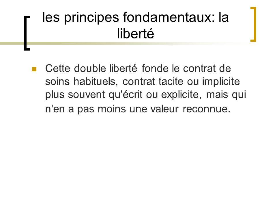 les principes fondamentaux: la liberté Cette double liberté fonde le contrat de soins habituels, contrat tacite ou implicite plus souvent qu'écrit ou