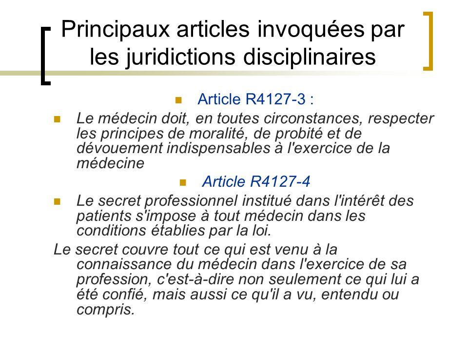 Principaux articles invoquées par les juridictions disciplinaires Article R4127-3 : Le médecin doit, en toutes circonstances, respecter les principes