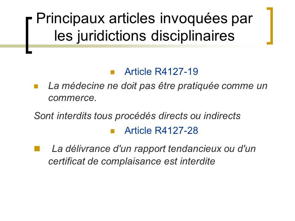 Principaux articles invoquées par les juridictions disciplinaires Article R4127-19 La médecine ne doit pas être pratiquée comme un commerce. Sont inte
