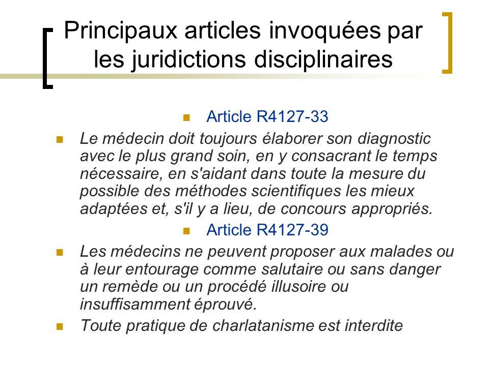 Principaux articles invoquées par les juridictions disciplinaires Article R4127-33 Le médecin doit toujours élaborer son diagnostic avec le plus grand