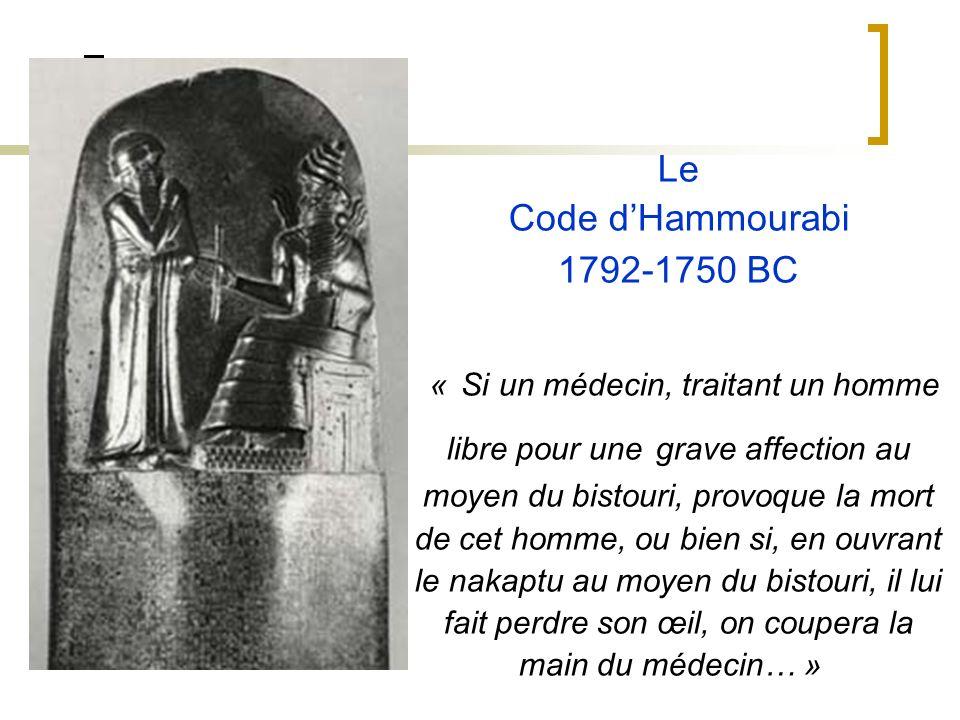Le Code dHammourabi 1792-1750 BC « Si un médecin, traitant un homme libre pour une grave affection au moyen du bistouri, provoque la mort de cet homme