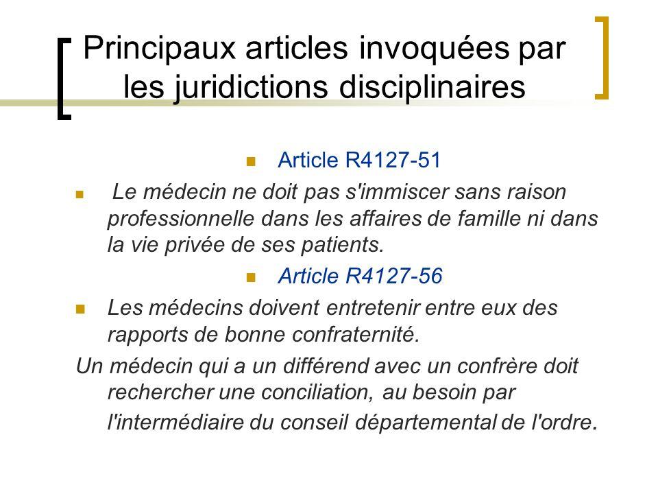 Principaux articles invoquées par les juridictions disciplinaires Article R4127-51 Le médecin ne doit pas s'immiscer sans raison professionnelle dans