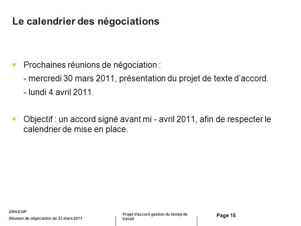Page 15 Le calendrier des négociations Prochaines réunions de négociation : - mercredi 30 mars 2011, présentation du projet de texte daccord. - lundi