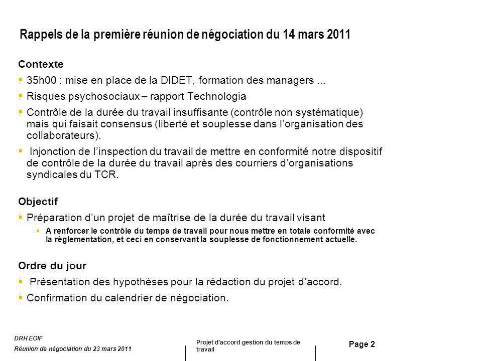 Page 2 Rappels de la première réunion de négociation du 14 mars 2011 Contexte 35h00 : mise en place de la DIDET, formation des managers... Risques psy