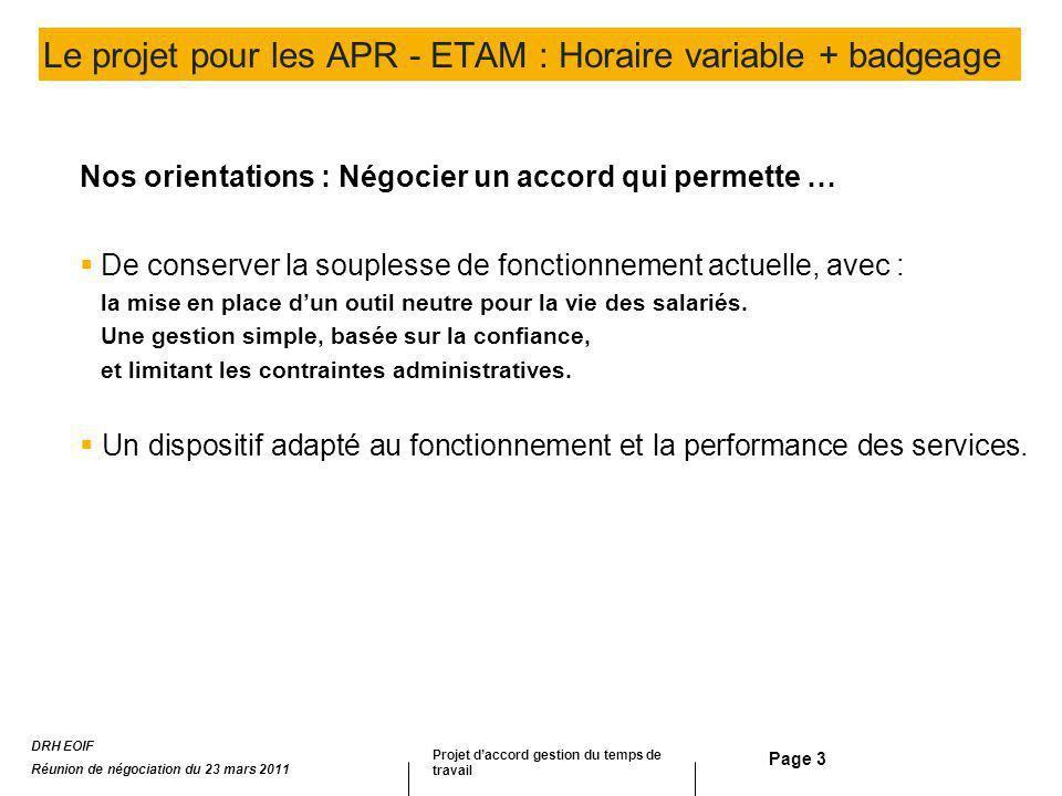 Page 3 Le projet pour les APR - ETAM : Horaire variable + badgeage Nos orientations : Négocier un accord qui permette … De conserver la souplesse de f