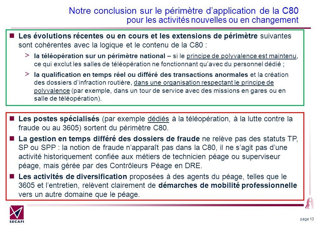 Notre conclusion sur le périmètre dapplication de la C80 pour les activités nouvelles ou en changement Les évolutions récentes ou en cours et les exte