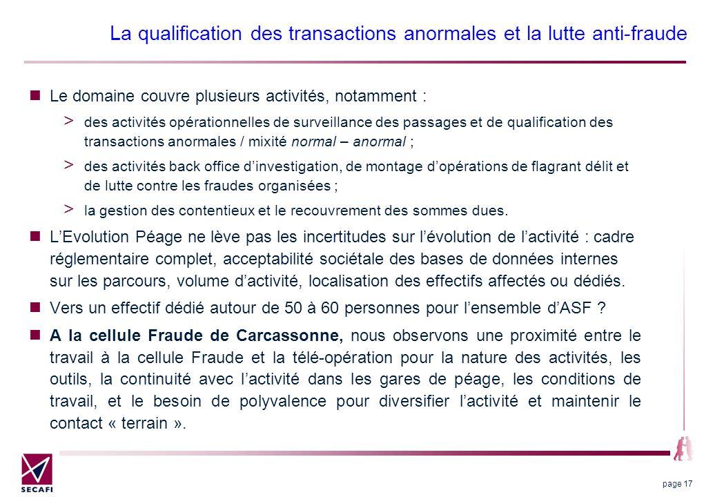 La qualification des transactions anormales et la lutte anti-fraude Le domaine couvre plusieurs activités, notamment : des activités opérationnelles d