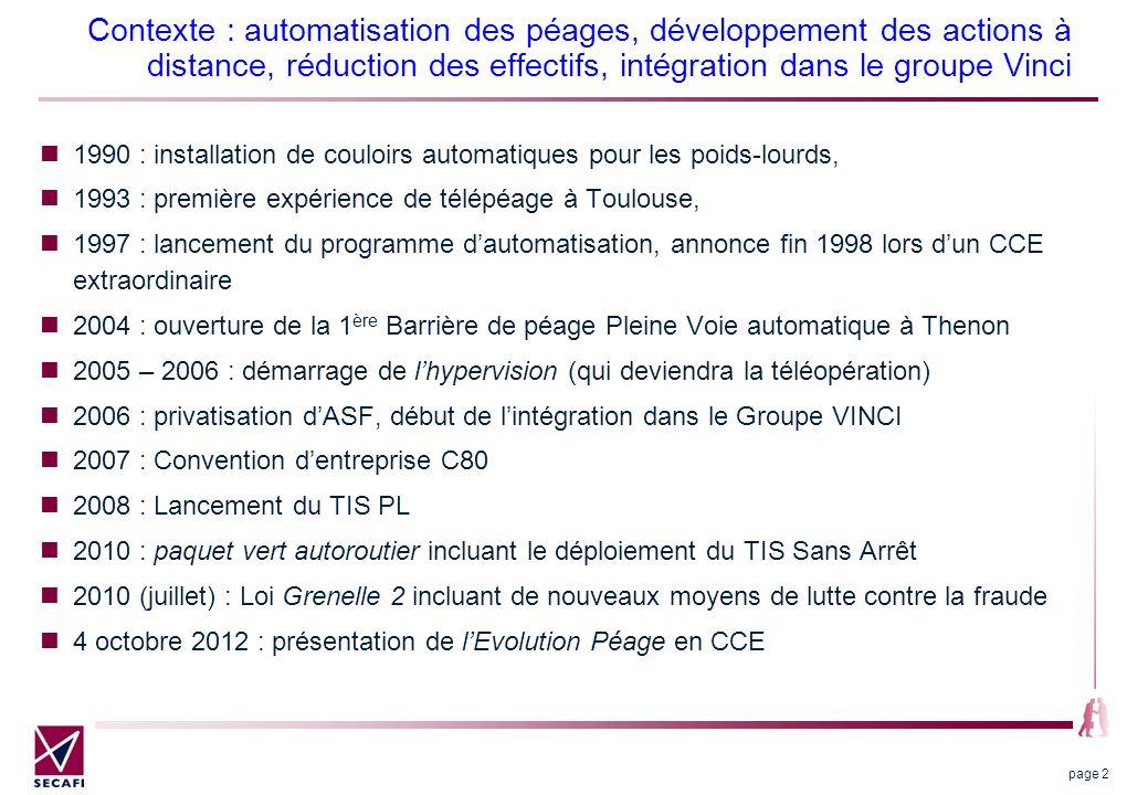 Contexte : automatisation des péages, développement des actions à distance, réduction des effectifs, intégration dans le groupe Vinci 1990 : installat