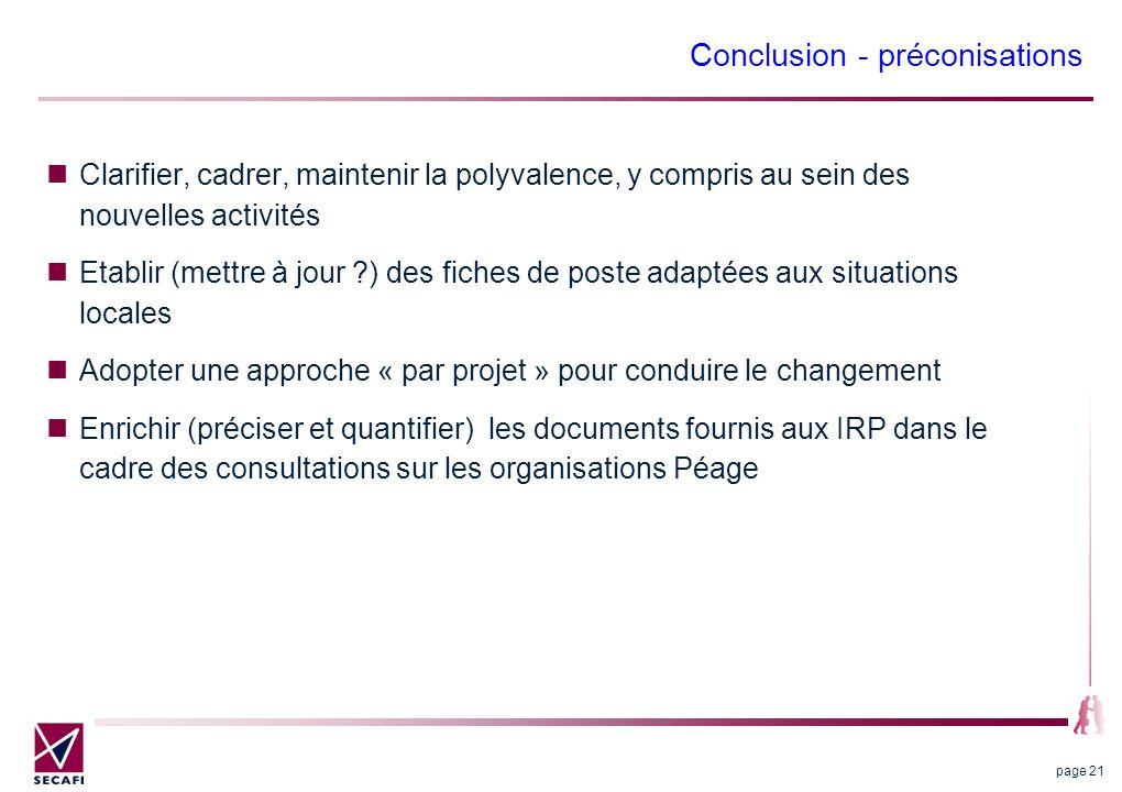 Conclusion - préconisations Clarifier, cadrer, maintenir la polyvalence, y compris au sein des nouvelles activités Etablir (mettre à jour ?) des fiche