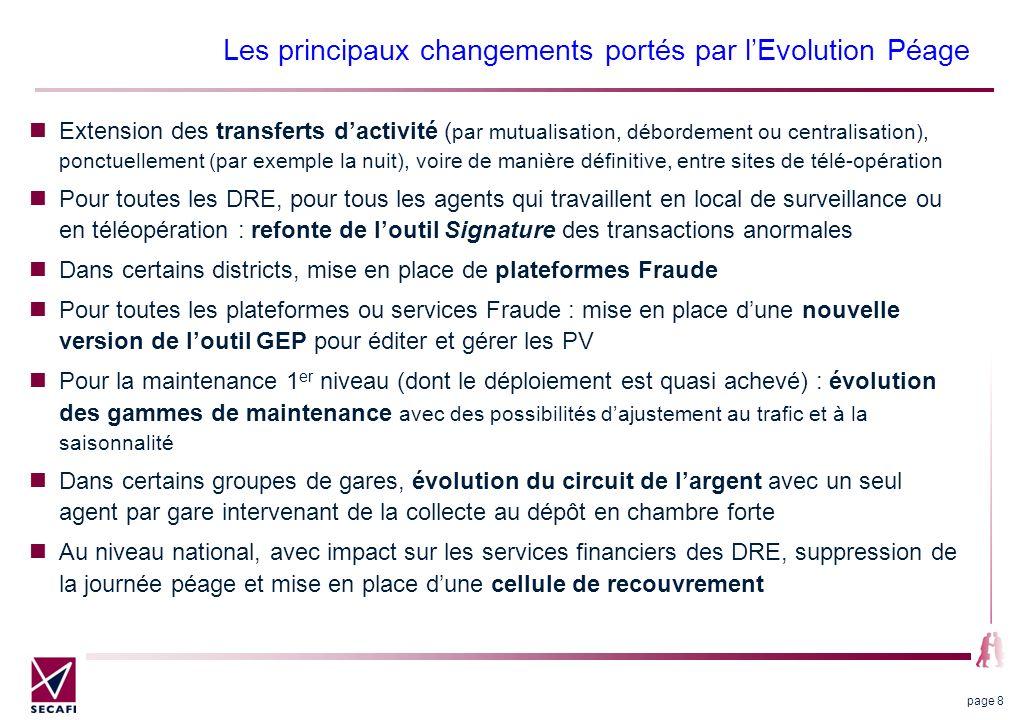 Les principaux changements portés par lEvolution Péage page 8 Extension des transferts dactivité ( par mutualisation, débordement ou centralisation),