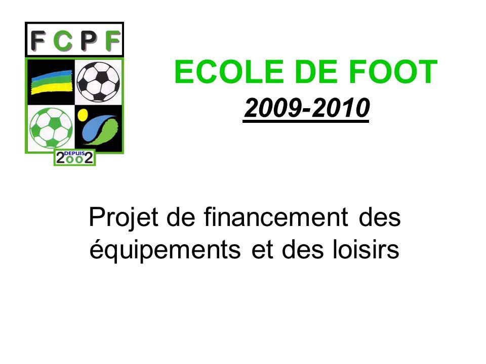 ECOLE DE FOOT 2009-2010 Projet de financement des équipements et des loisirs