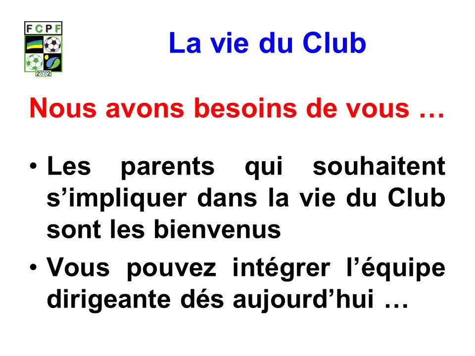 La vie du Club Nous avons besoins de vous … Les parents qui souhaitent simpliquer dans la vie du Club sont les bienvenus Vous pouvez intégrer léquipe dirigeante dés aujourdhui …