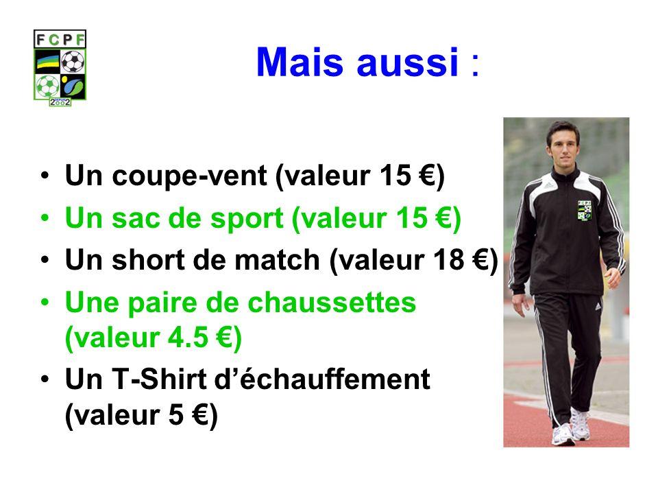 Mais aussi : Un coupe-vent (valeur 15 ) Un sac de sport (valeur 15 ) Un short de match (valeur 18 ) Une paire de chaussettes (valeur 4.5 ) Un T-Shirt déchauffement (valeur 5 )