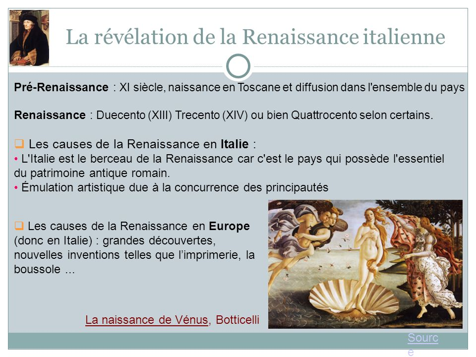 La révélation de la Renaissance italienne Pré-Renaissance : XI siècle, naissance en Toscane et diffusion dans l ensemble du pays Renaissance : Duecento (XIII) Trecento (XIV) ou bien Quattrocento selon certains.