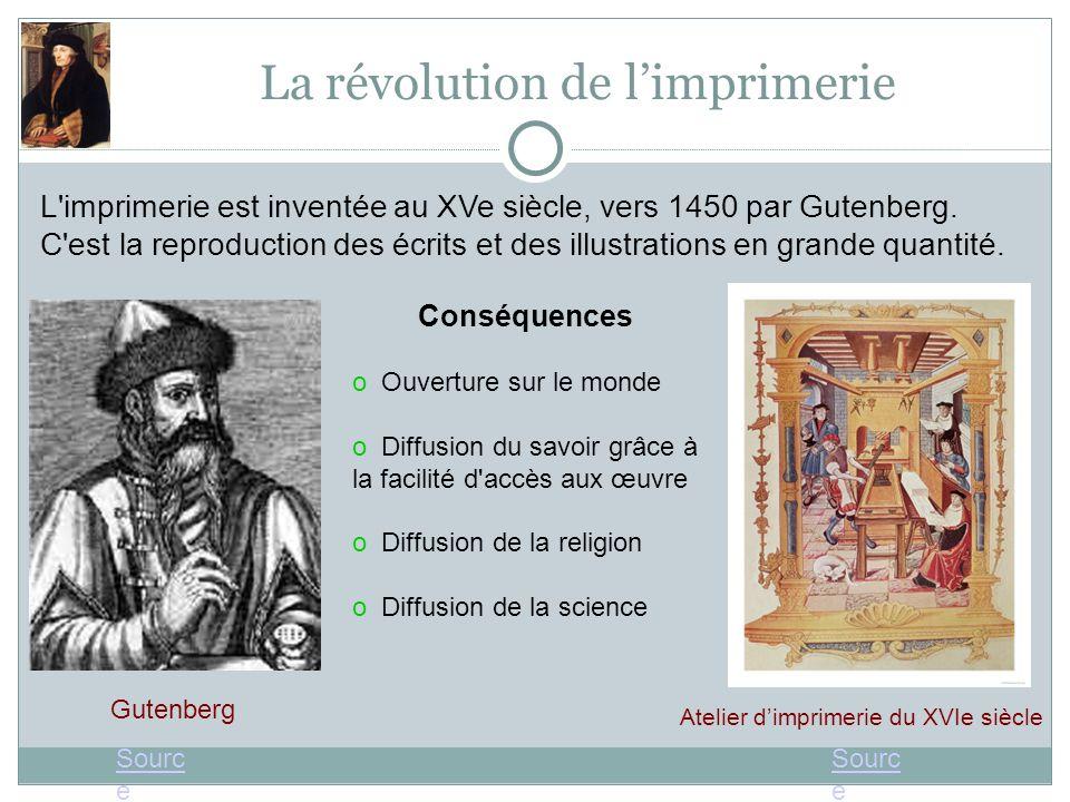 La révolution de limprimerie L'imprimerie est inventée au XVe siècle, vers 1450 par Gutenberg. C'est la reproduction des écrits et des illustrations e