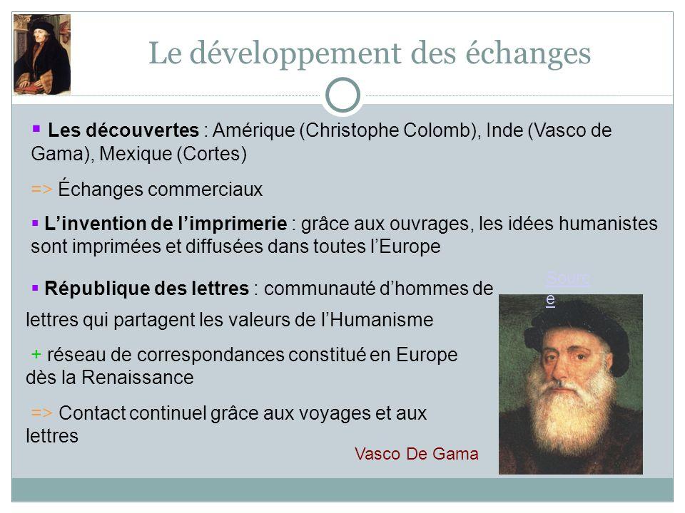 Le développement des échanges Linvention de limprimerie : grâce aux ouvrages, les idées humanistes sont imprimées et diffusées dans toutes lEurope Rép