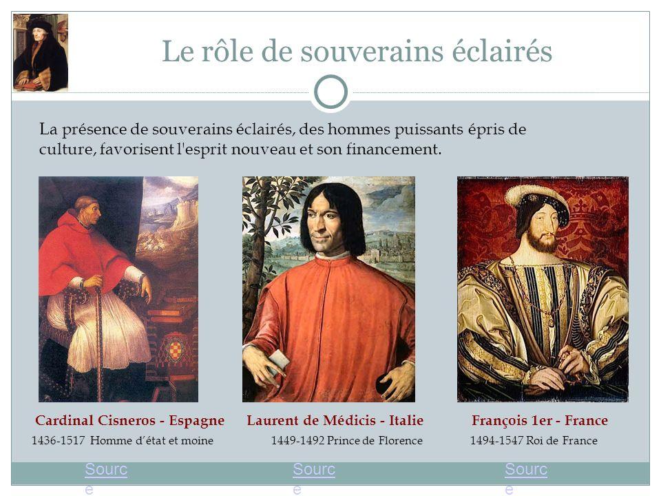 Le rôle de souverains éclairés La présence de souverains éclairés, des hommes puissants épris de culture, favorisent l'esprit nouveau et son financeme