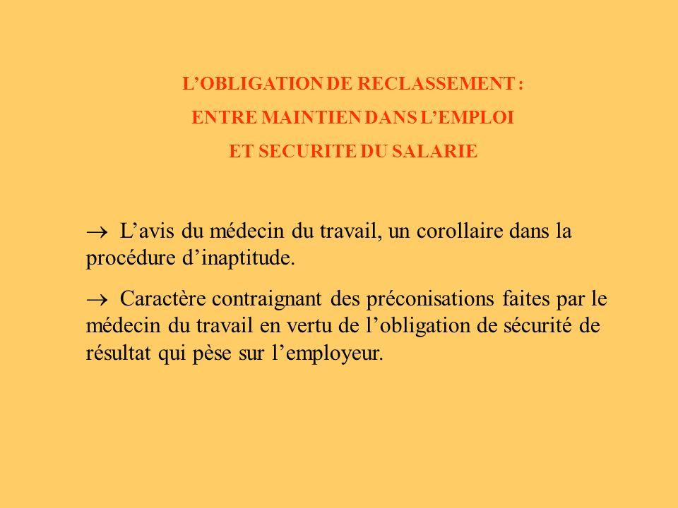 LOBLIGATION DE RECLASSEMENT : ENTRE MAINTIEN DANS LEMPLOI ET SECURITE DU SALARIE Lavis du médecin du travail, un corollaire dans la procédure dinaptitude.