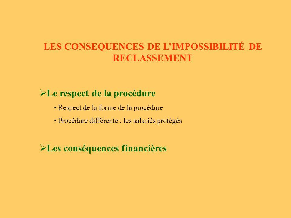 LES CONSEQUENCES DE LIMPOSSIBILITÉ DE RECLASSEMENT Le respect de la procédure Respect de la forme de la procédure Procédure différente : les salariés protégés Les conséquences financières