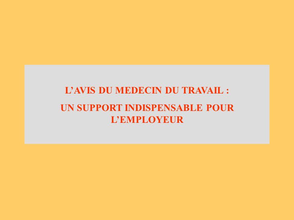 LAVIS DU MEDECIN DU TRAVAIL : UN SUPPORT INDISPENSABLE POUR LEMPLOYEUR