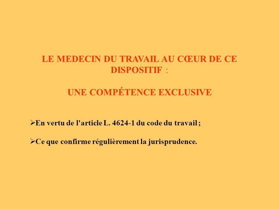 LE MEDECIN DU TRAVAIL AU CŒUR DE CE DISPOSITIF : UNE COMPÉTENCE EXCLUSIVE En vertu de l article L.