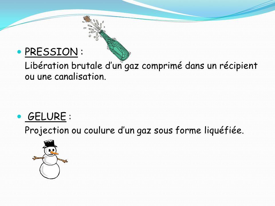 PRESSION : Libération brutale dun gaz comprimé dans un récipient ou une canalisation. GELURE : Projection ou coulure dun gaz sous forme liquéfiée.