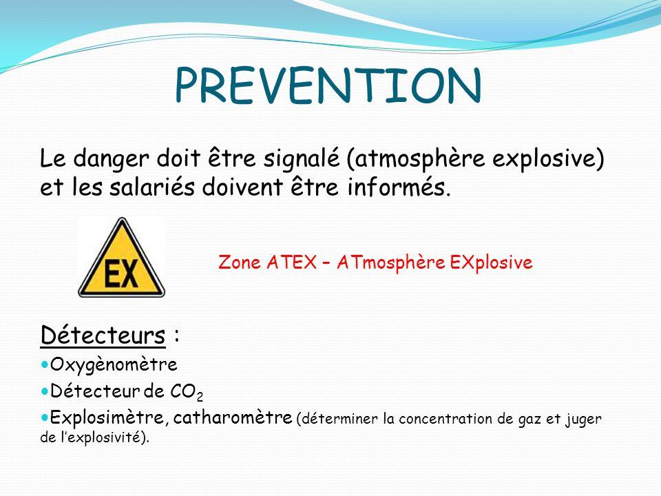 PREVENTION Le danger doit être signalé (atmosphère explosive) et les salariés doivent être informés. Détecteurs : Oxygènomètre Détecteur de CO 2 Explo