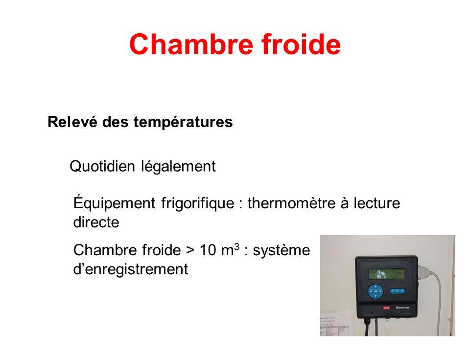 Chambre froide Relevé des températures Quotidien légalement Équipement frigorifique : thermomètre à lecture directe Chambre froide > 10 m 3 : système